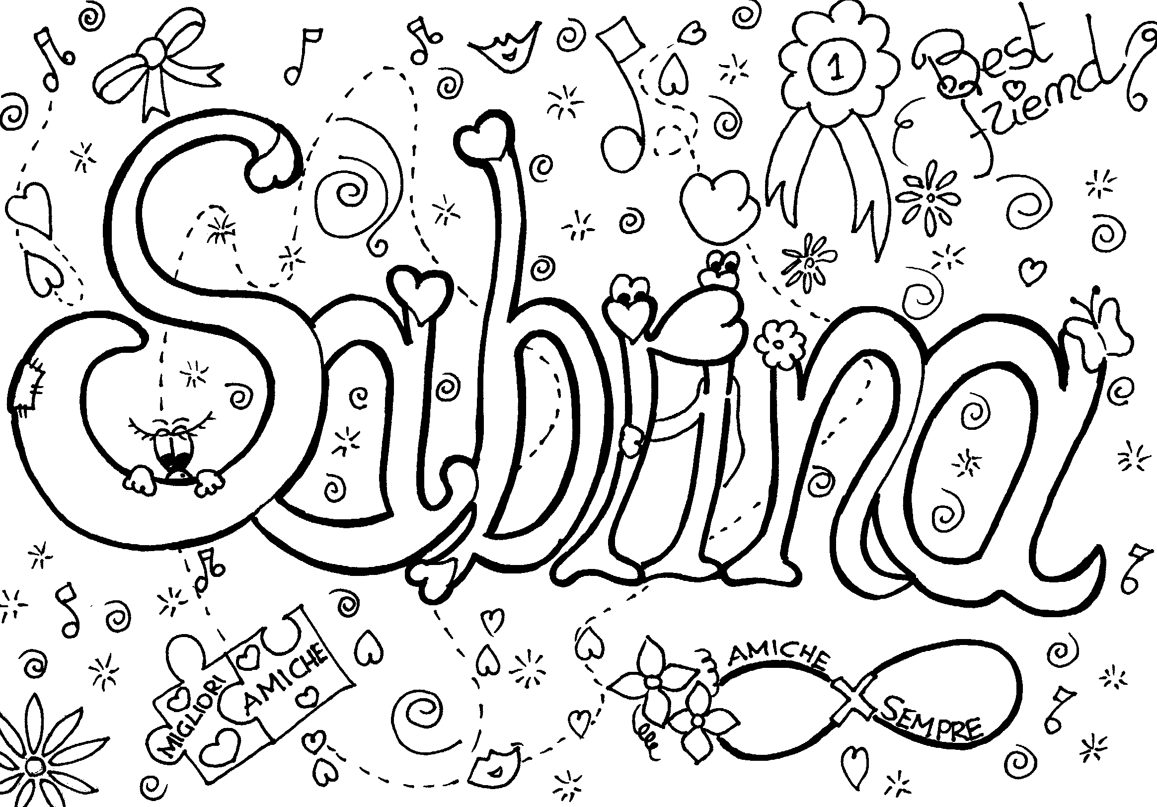 Colora il tuo nome sabrina 1 for Disegni di due migliori amiche